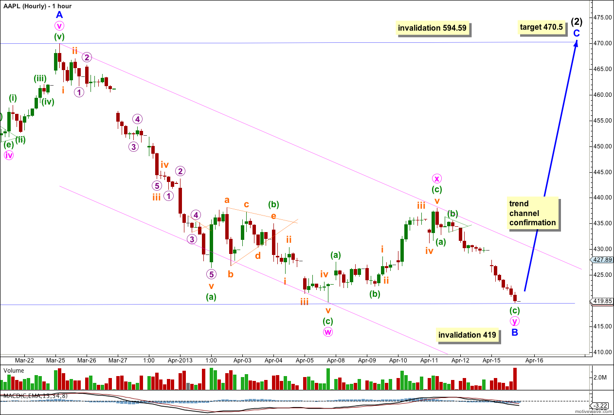 AAPL Elliott Wave Hourly Chart 2013