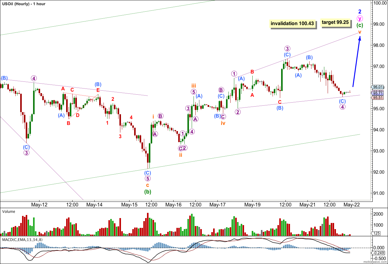 US Oil Elliott Wave Chart Hourly 2013