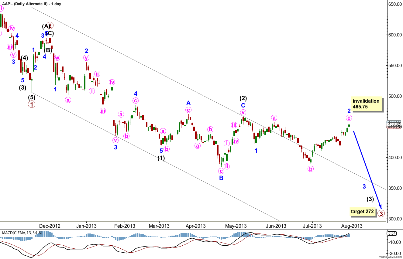 AAPL Elliott Wave Chart daily alterante 2013
