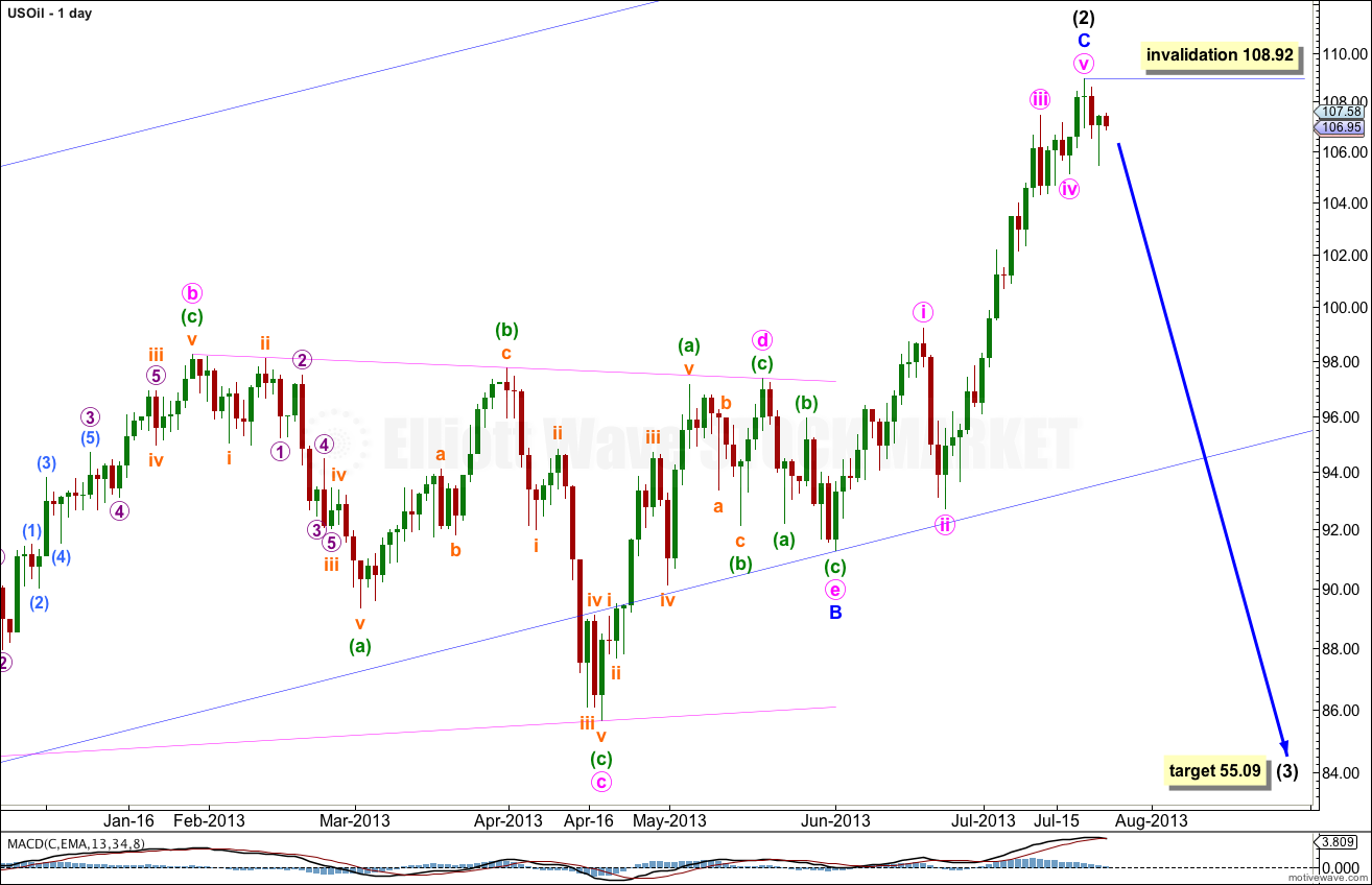 US Oil Elliott Wave Chart Daily 2013