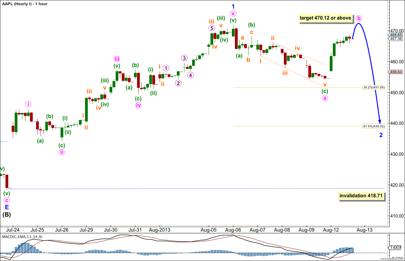 AAPL Elliott Wave Chart Hourly I 2013