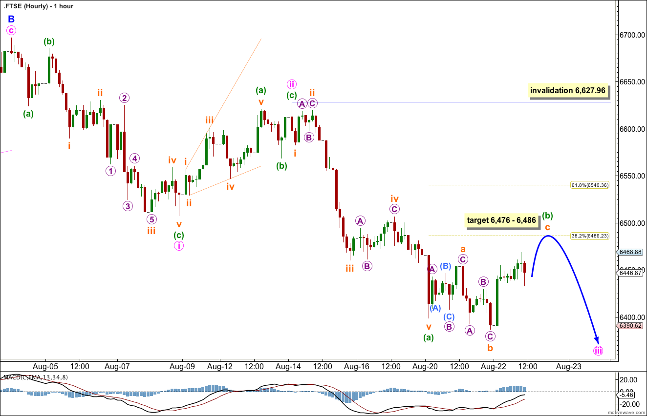 FTSE Elliott Wave Chart hourly 2013