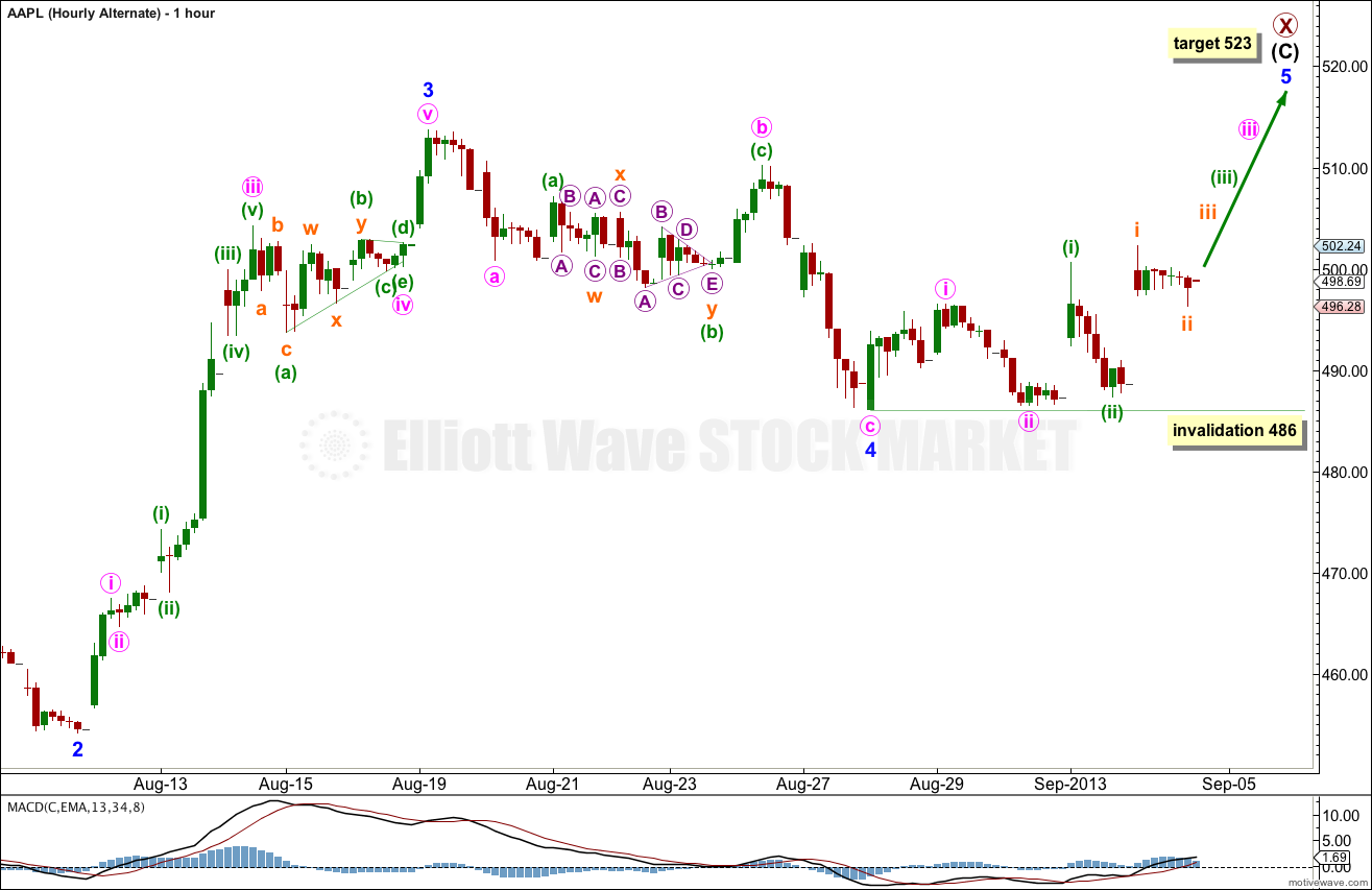 AAPL Elliott Wave Chart Hourly Alternate 2013