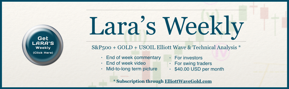 Lara's Weekly Elliott Wave + Technical Analysis of Gold