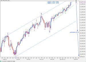 djia elliott wave analysis daily chart 24th january, 2011